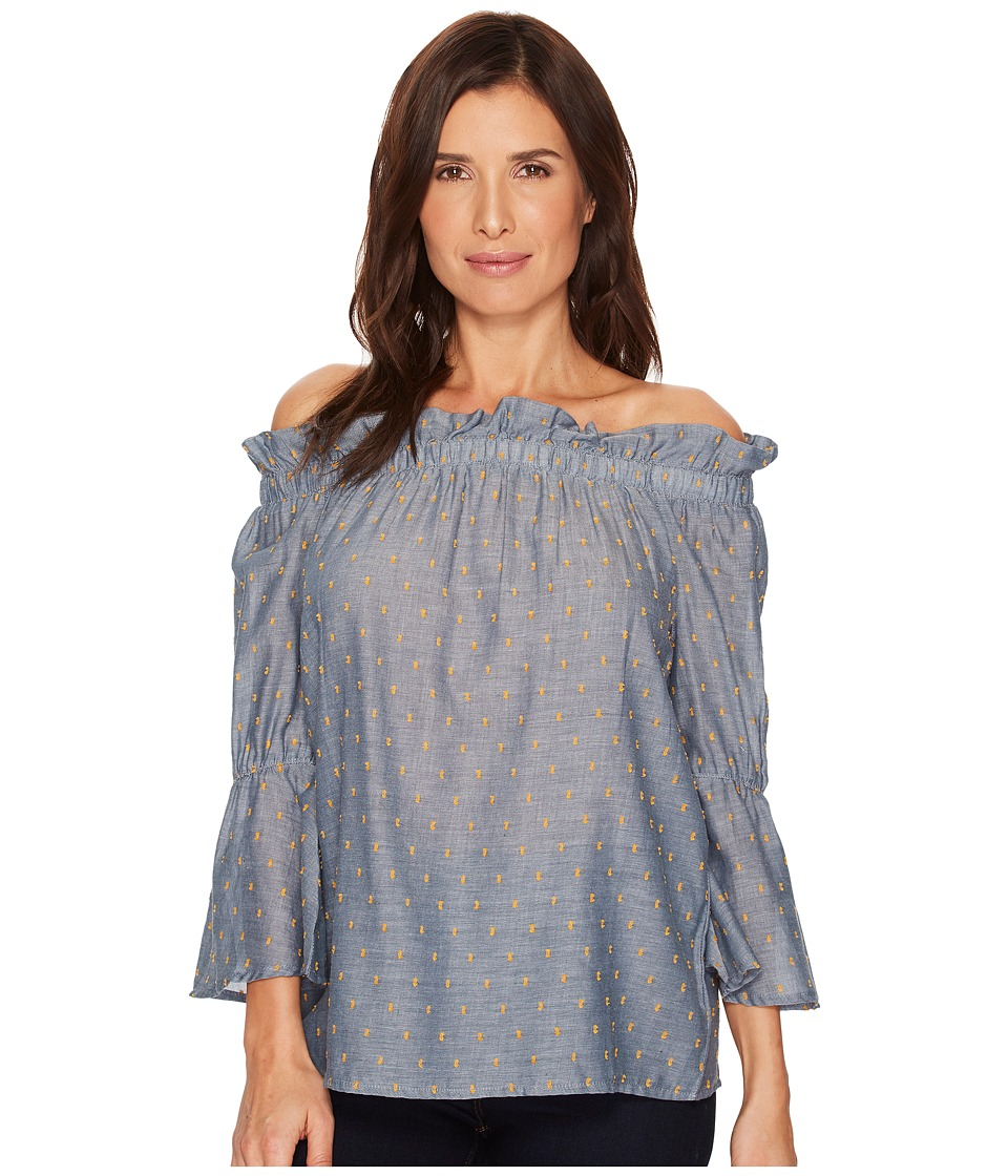B Collection by Bobeau - Martha Off Shoulder Top (Chambray) Womens Clothing