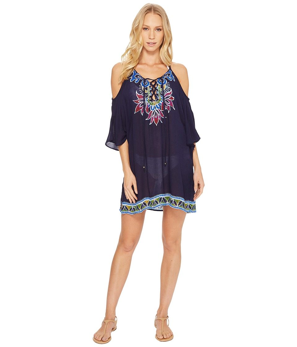 Trina Turk Lotus Batik Off the Shoulder Tunic Cover-Up (Midnight)
