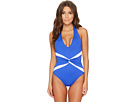 LAUREN Ralph Lauren LAUREN Ralph Lauren Beach Club Plunge Twist Halter One-Piece Shaping Fit w/ Removable Cups