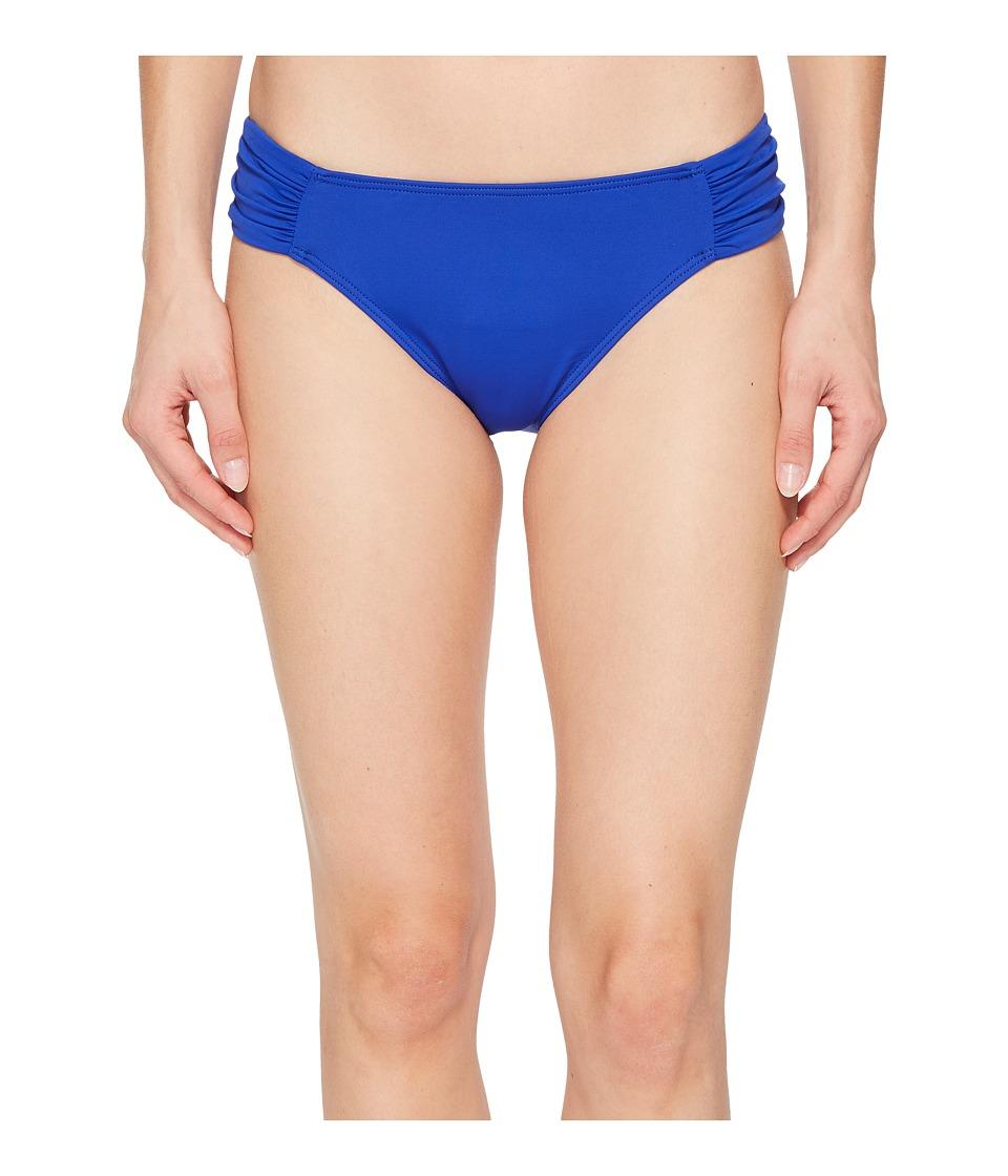 LAUREN Ralph Lauren Beach Club Solids Shirred Side Tab Hipster Bottom (Capri Blue) Women