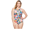 LAUREN Ralph Lauren Plus Size Tropical Palm Hi-Neck One-Piece
