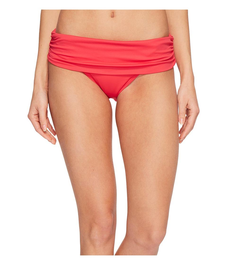LAUREN Ralph Lauren Beach Club Solids Wide Shirred Banded Hipster Bottom (Raspberry) Women