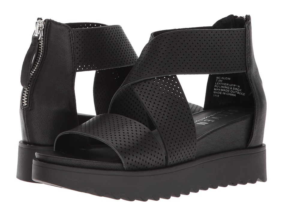 Steven - NC-Klein (Black Leather) Women's Sandals