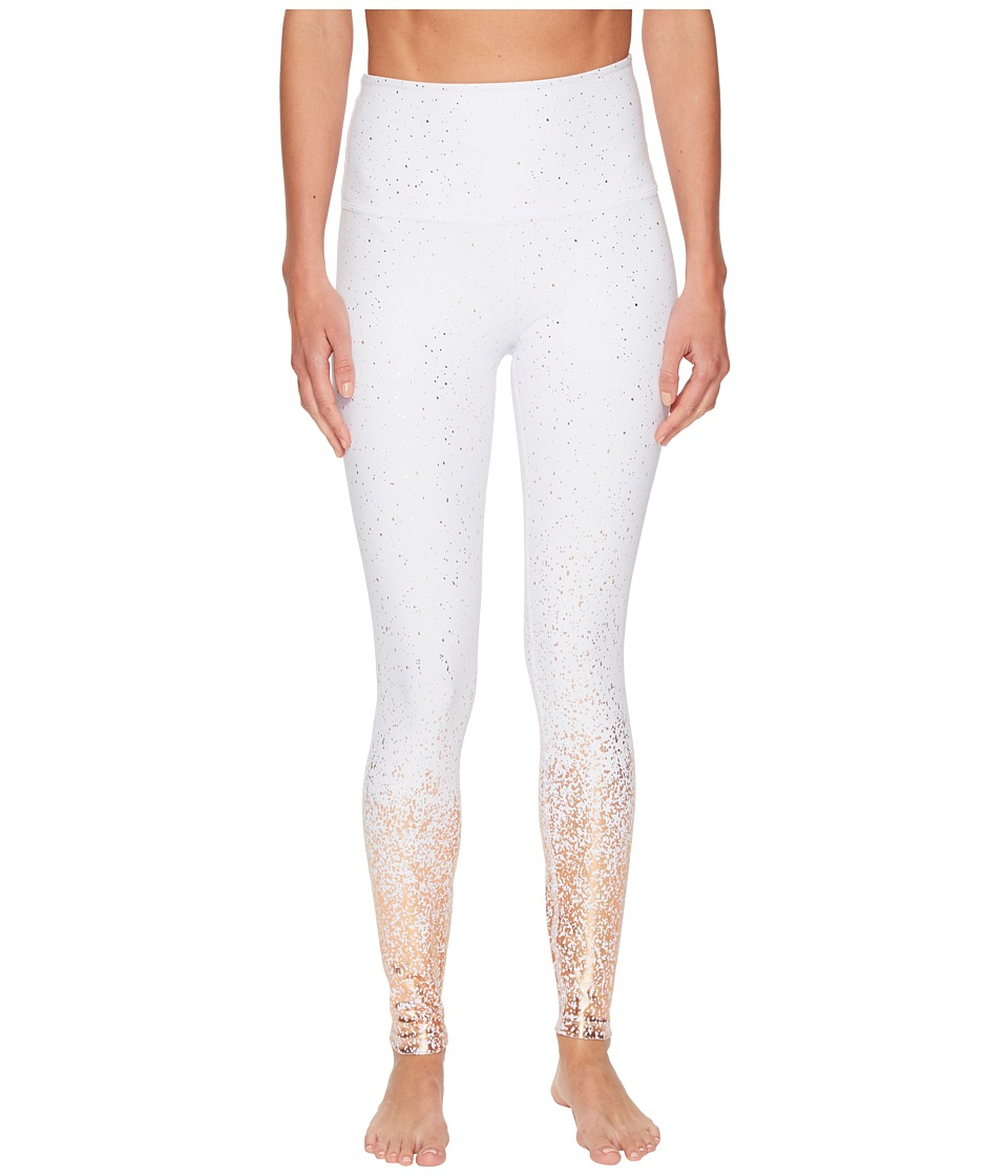 Image of Beyond Yoga - Alloy Ombre High-Waisted Midi Leggings (White/Rose Gold Speckle) Women's Casual Pants