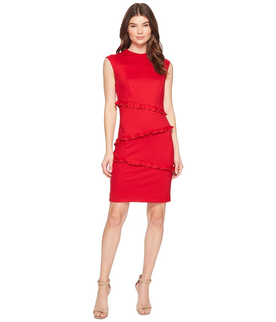 Nicole Miller Ponte Sleeveless Ruffle Dress (Lipstick Red) Women