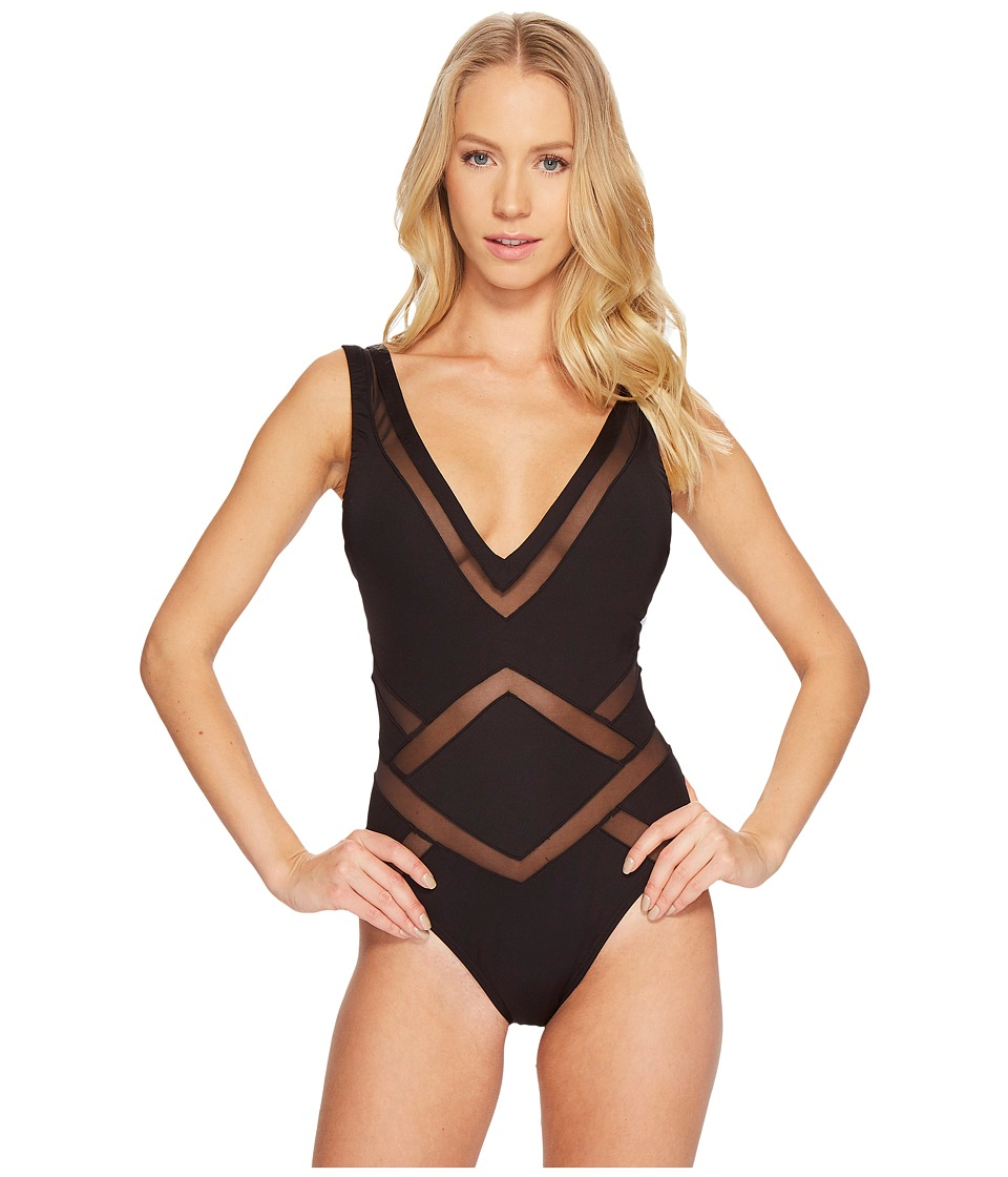 Kenneth Cole - All Meshed Up Plunge Mio One-Piece