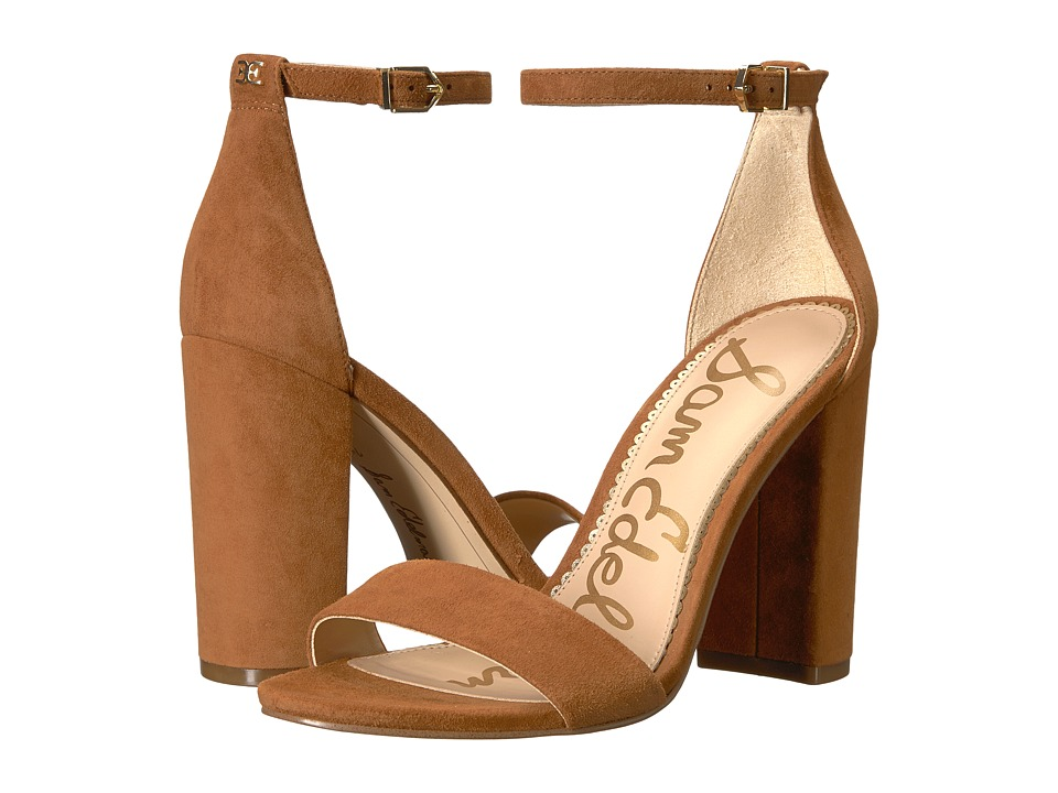 Sam Edelman Yaro Ankle Strap Sandal Heel (Luggage Kid Suede Leather) Women's Dress Sandals