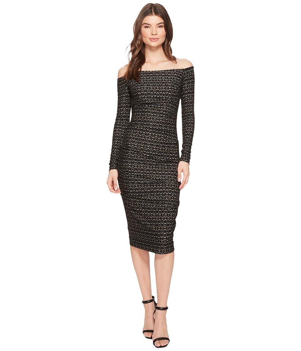 Nicole Miller Lurex Zigzag 3/4 Sleeve Dress (Black/Gold) Women