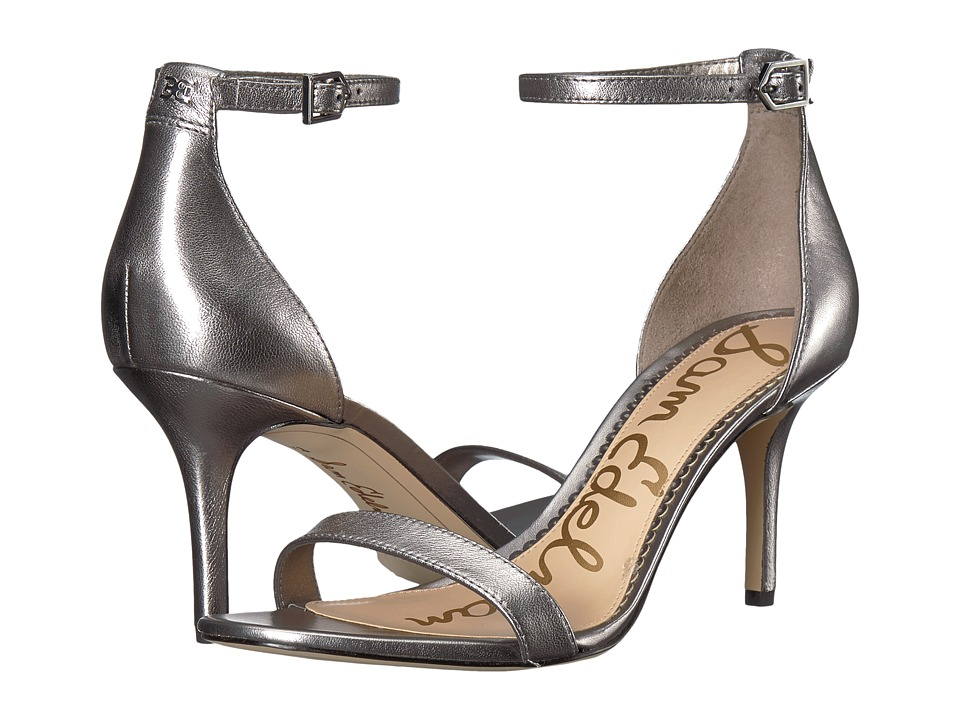 Sam Edelman Patti Strappy Sandal Heel (Pewter Soft Metallic Sheep Leather) High Heels