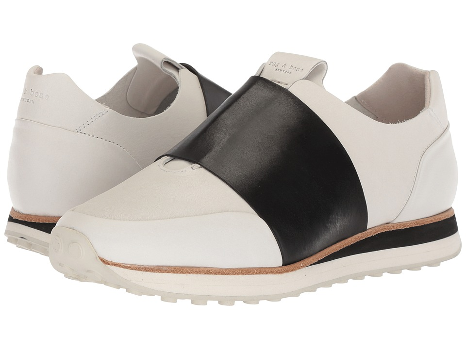 rag & bone - Dylan Elastic Runner (White/Black) Womens Shoes