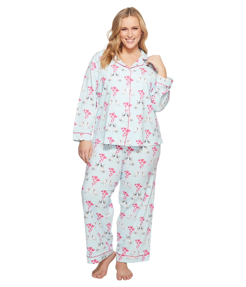 BedHead - Plus Size Long Sleeve Classic Two-Piece Pajama Set (Puppy Love) Womens Pajama Sets
