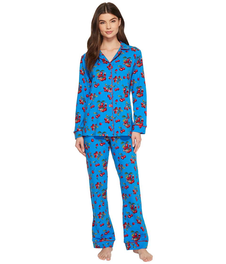 BedHead - Long Sleeve Classic Knit Two-Piece Pajama Set (Teal Cherries in Bloom) Womens Pajama Sets