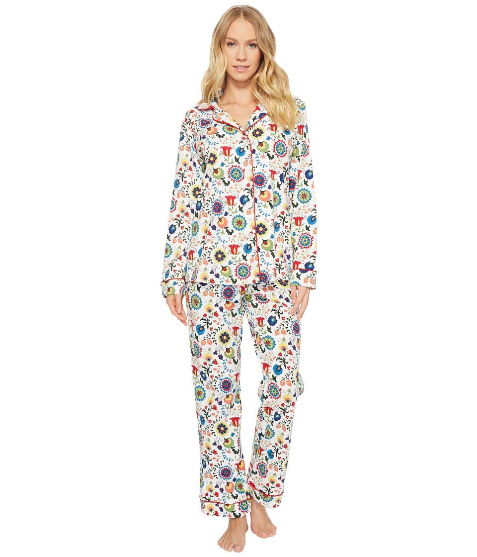 Image of BedHead - Long Sleeve Classic Knit Two-Piece Pajama Set (Carmen's Garden) Women's Pajama Sets