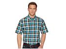 Cinch Short Sleeve Plain Weave Plaid Double Pocket