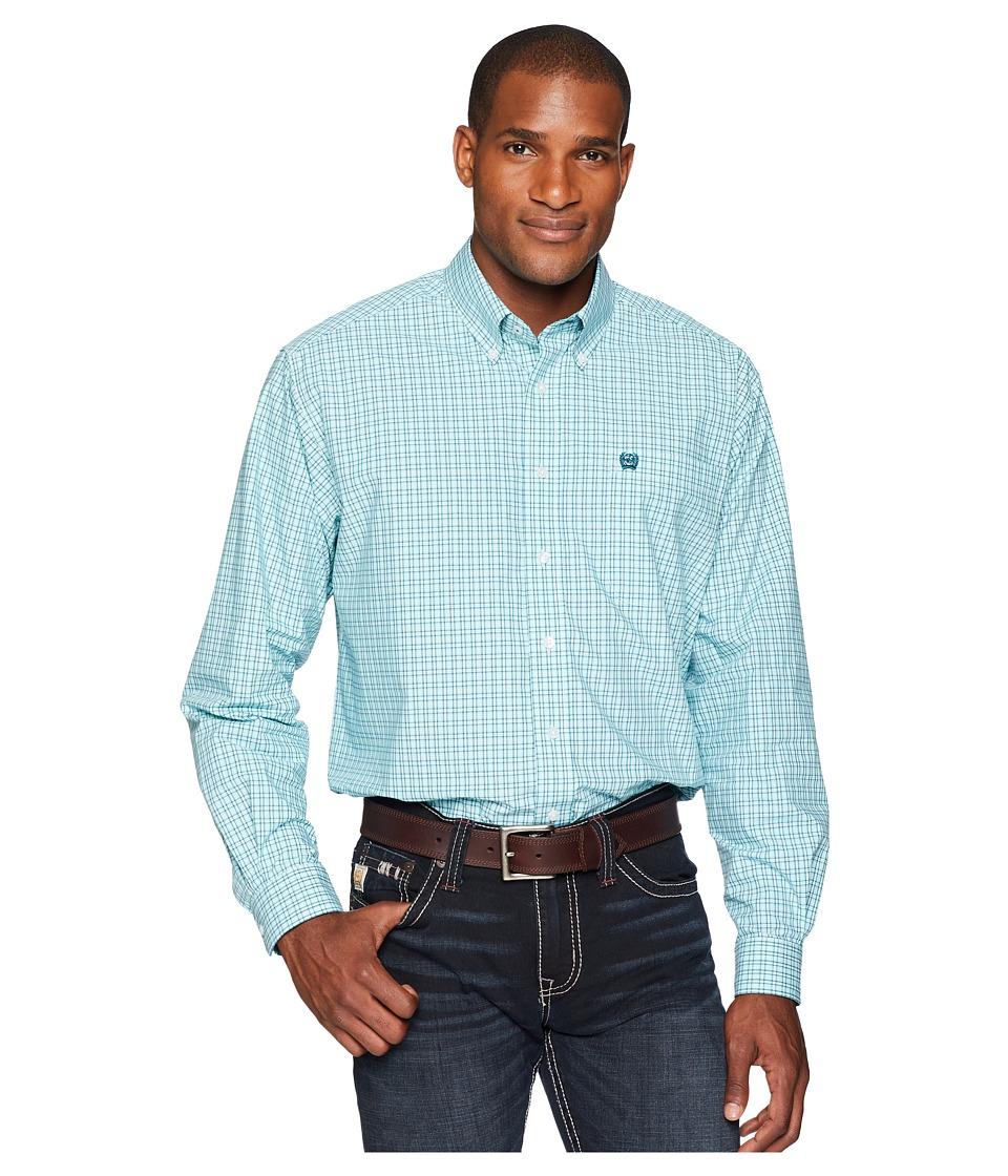 CINCH Long Sleeve Plain Weave Plaid (Turquoise) Men's Long Sleeve Button Up