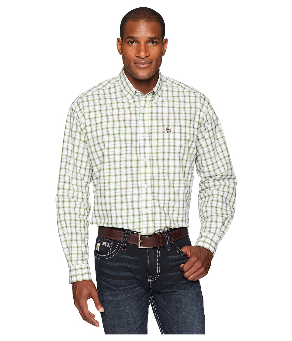 CINCH Long Sleeve Plain Weave Plaid (White 9) Men's Long Sleeve Button Up