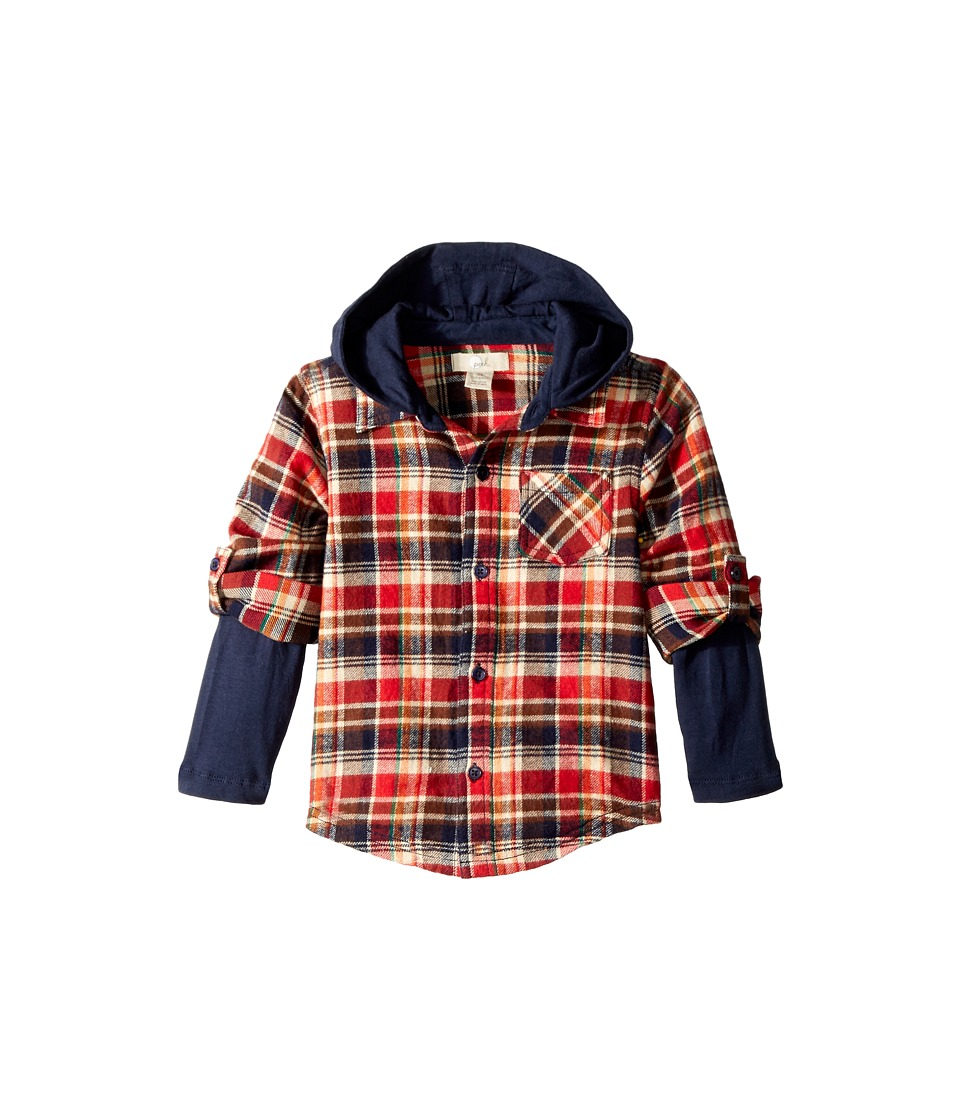 Sam Edelman Ace Plaid Hoodie (Infant) (Red) Boy's Sweatshirt