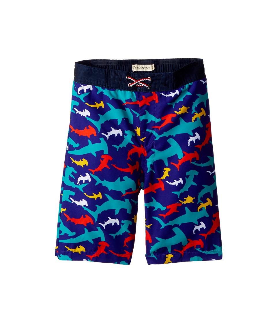 Appaman Kids - Shark Print Swim Trunks (Toddler/Little Kids/Big Kids) (Hammer Time) Boys Swimwear