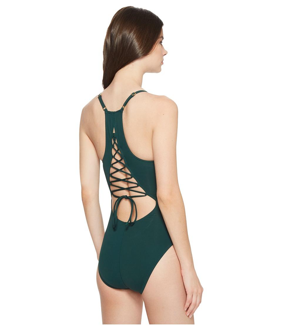 La Blanca - Island Goddess Lingerie Lace Back Mio (Hunter) Womens Swimsuits One Piece