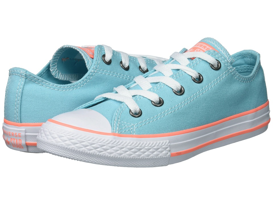 Converse Kids - Chuck Taylor(r) All Star(r) Seasonal Ox (Little Kid/Big Kid) (Bleached Aqua/Crimson Pulse/White) Girls Shoes