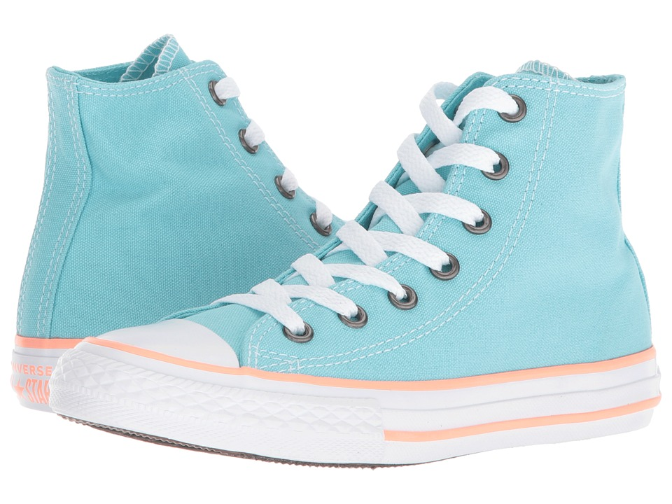 Converse Kids - Chuck Taylor(r) All Star(r) Seasonal Hi (Little Kid/Big Kid) (Bleached Aqua/Crimson Pulse/White) Girls Shoes