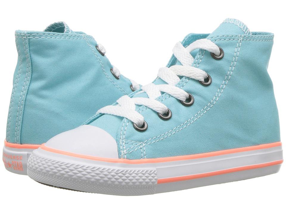 Converse Kids Chuck Taylor(r) All Star(r) Seasonal Hi (Infant/Toddler) (Bleached Aqua/Crimson Pulse/White) Girl