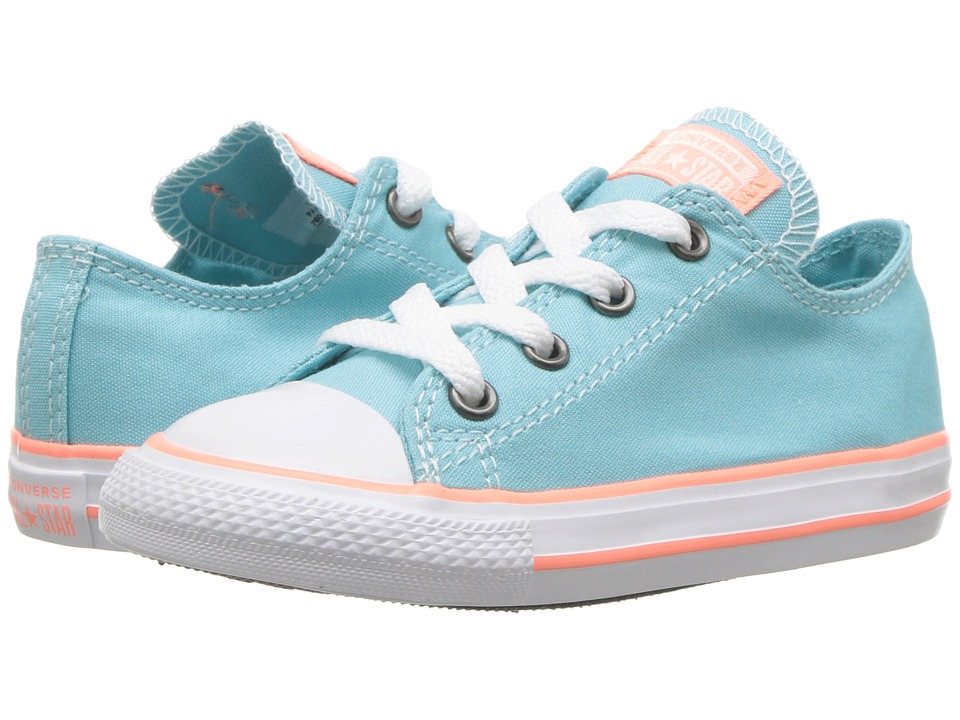 Converse Kids - Chuck Taylor(r) All Star(r) Seasonal Ox (Infant/Toddler) (Bleached Aqua/Crimson Pulse/White) Girls Shoes