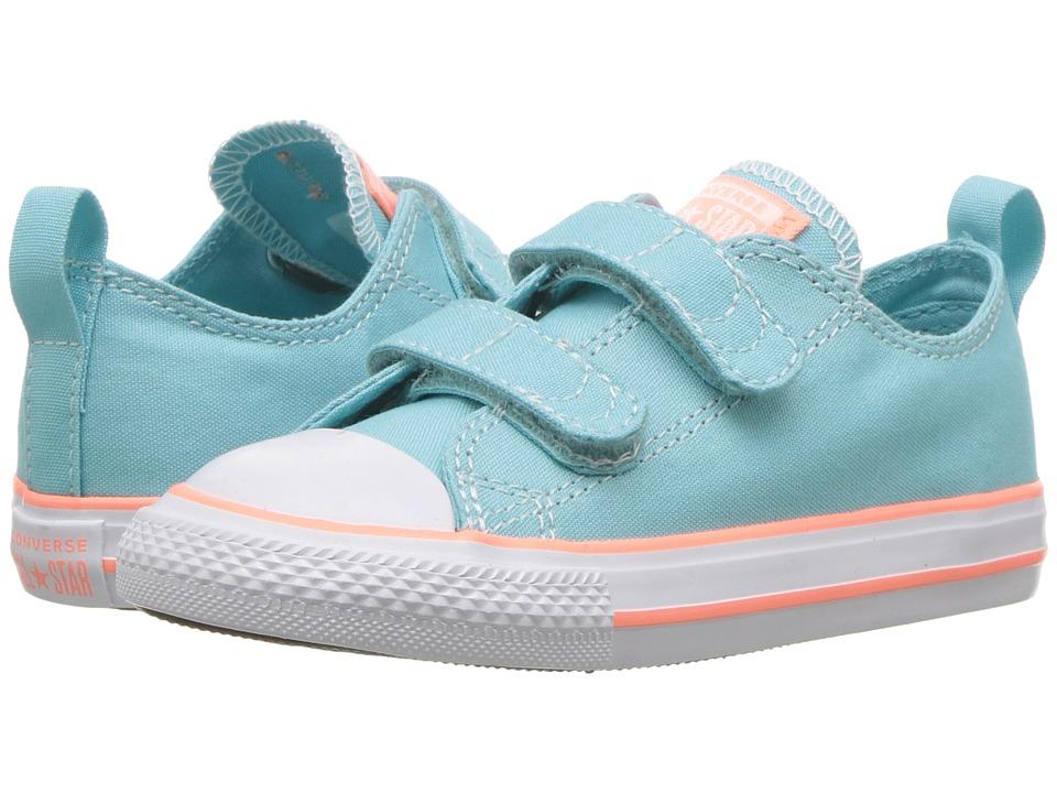 Converse Kids Chuck Taylor(r) All Star(r) 2V Seasonal Ox (Infant/Toddler) (Bleached Aqua/Crimson Pulse/White) Girls Shoes