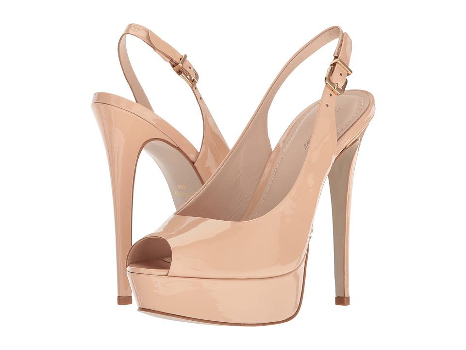 Massimo Matteo Open Toe Sling Platform (Crema Patent) High Heels