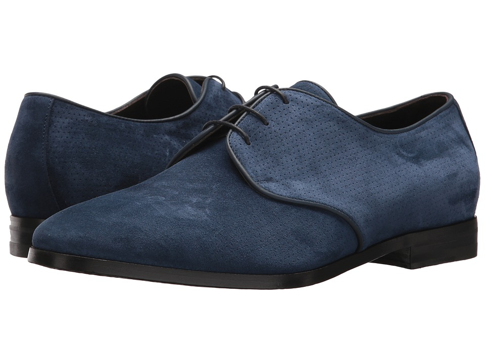 Canali - Perforated Suede Oxford (Blue) Mens Slip on  Shoes