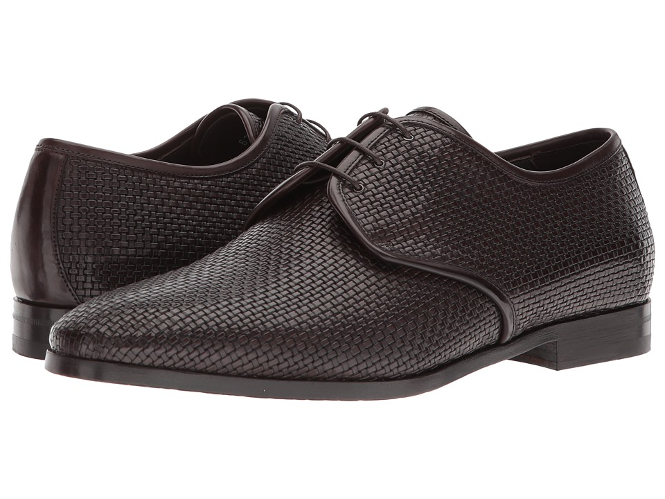 Canali - Woven Oxford (Brown) Mens Slip on  Shoes