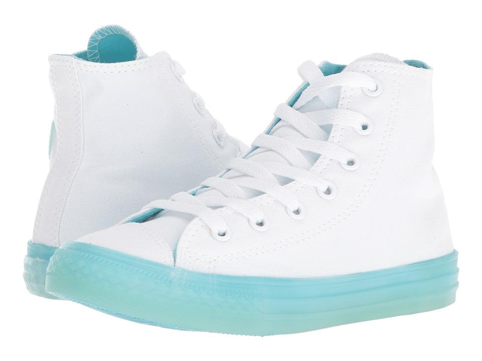 Converse Kids Chuck Taylor(r) All Star(r) Jelly Hi (Little Kid/Big Kid) (White/Bleached Aqua/Bleached Aqua) Girls Shoes