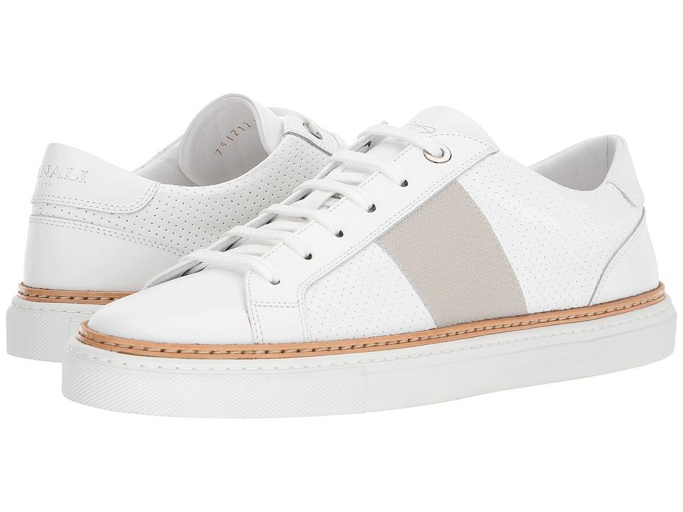 Canali - Side Stripe Tennis Sneaker (White/Grey) Mens  Shoes