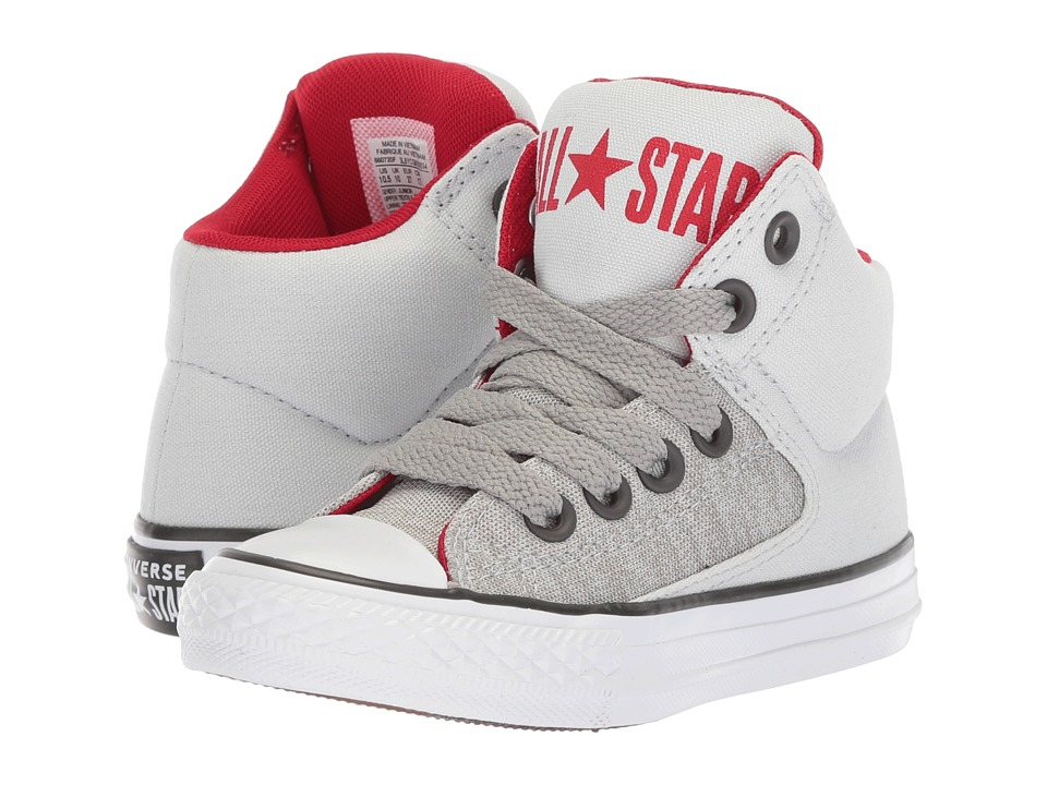 Converse Kids Chuck Taylor(r) All Star(r) High Street Heather Textile Fundamentals Hi (Little Kid/Big Kid) (Pure Platinum/Dolphin/White) Boys Shoes