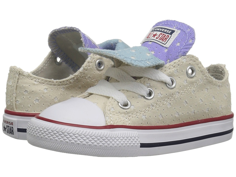 Converse Kids Chuck Taylor(r) All Star(r) Double Tongue Star Perf Canvas Ox (Infant/Toddler) (Driftwood/Twilight Pulse/White) Girls Shoes
