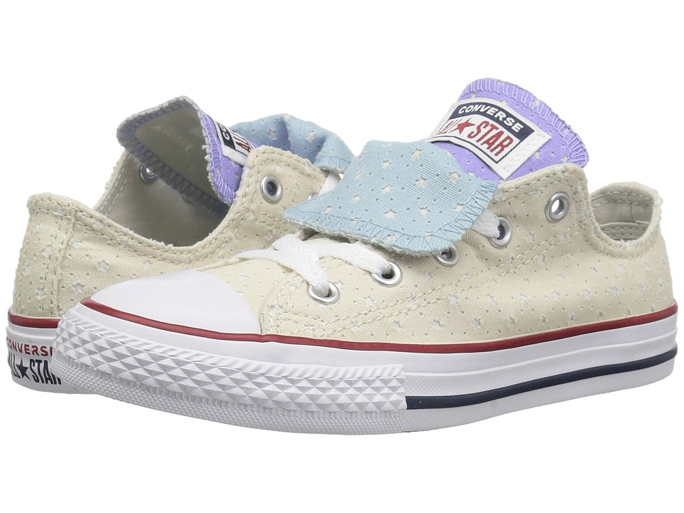 Converse Kids Chuck Taylor(r) All Star(r) Double Tongue Star Perf Canvas Ox (Little Kid/Big Kid) (Driftwood/Twilight Pulse/White) Girls Shoes