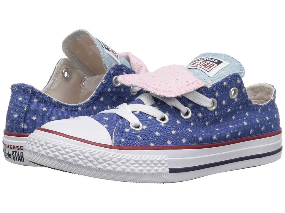 Converse Kids Chuck Taylor(r) All Star(r) Double Tongue Star Perf Canvas Ox (Little Kid/Big Kid) (Nightfall Blue/Ocean Bliss/White) Girls Shoes