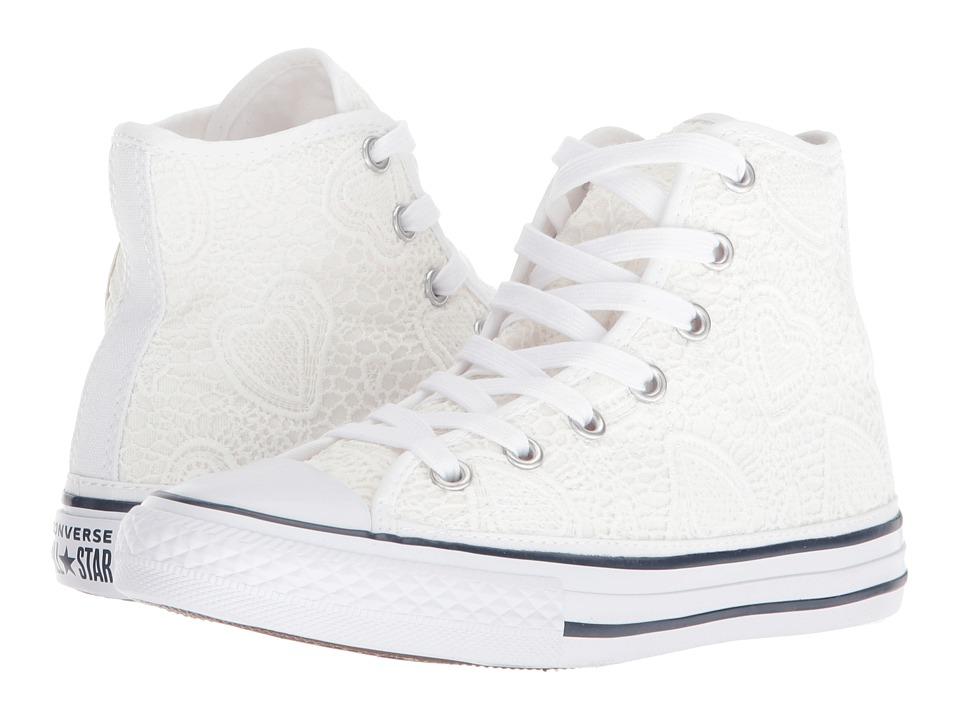 Converse Kids - Chuck Taylor(r) All Star(r) Italian Hi (Little Kid/Big Kid) (White/Garnet/Insignia Blue) Girls Shoes