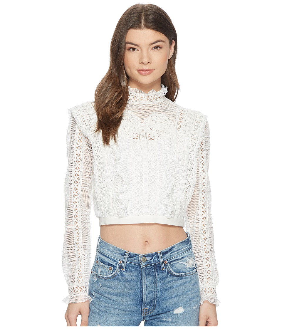 For Love and Lemons - Victorian Tulle Blouse (Ivory) Womens Blouse