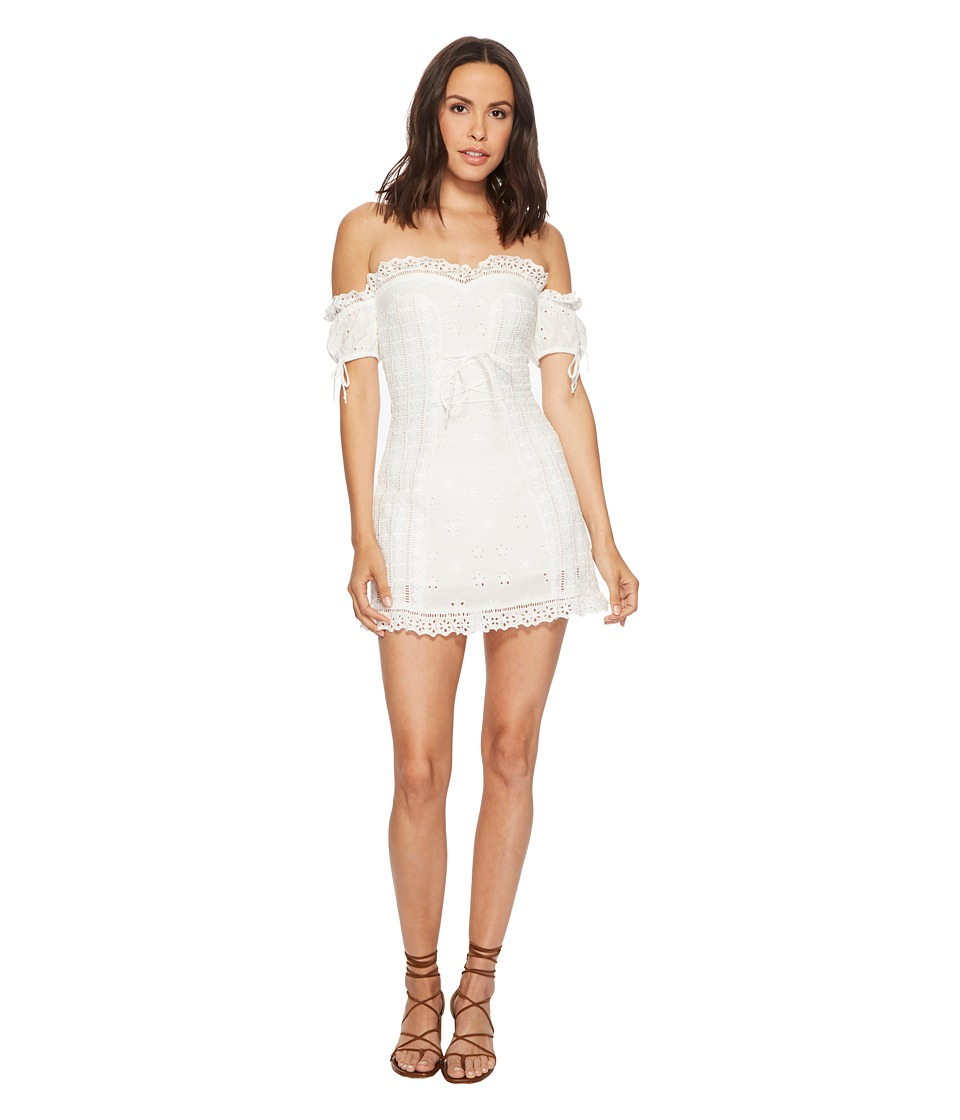 For Love and Lemons - Anabelle Eyelet Lace-Up Dress (White) Womens Dress