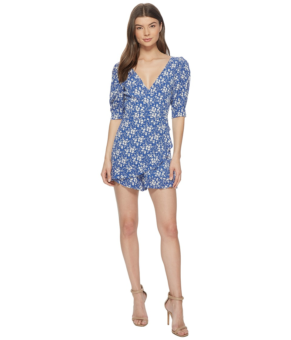 For Love and Lemons - Zamira Floral Romper (Cobalt) Womens Jumpsuit & Rompers One Piece