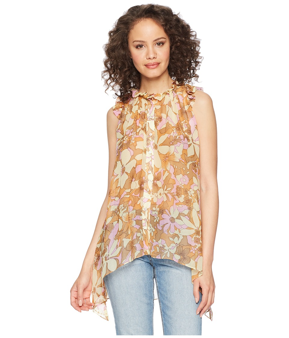 For Love and Lemons - Maritza Floral Tank Tunic (Tan Floral) Womens Sleeveless