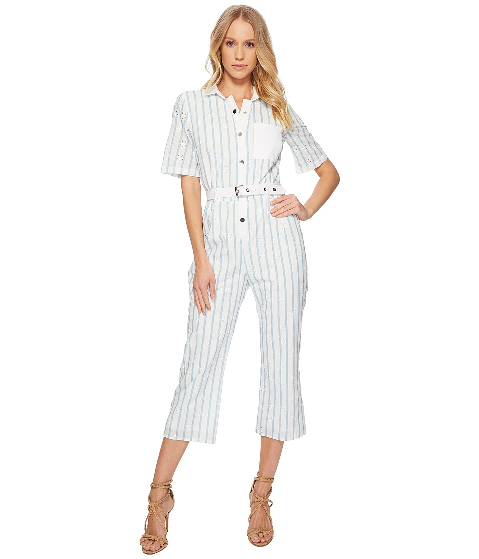For Love and Lemons - Hermosa Striped Eyelet Jumpsuit (Blue Stripe) Womens Jumpsuit & Rompers One Piece