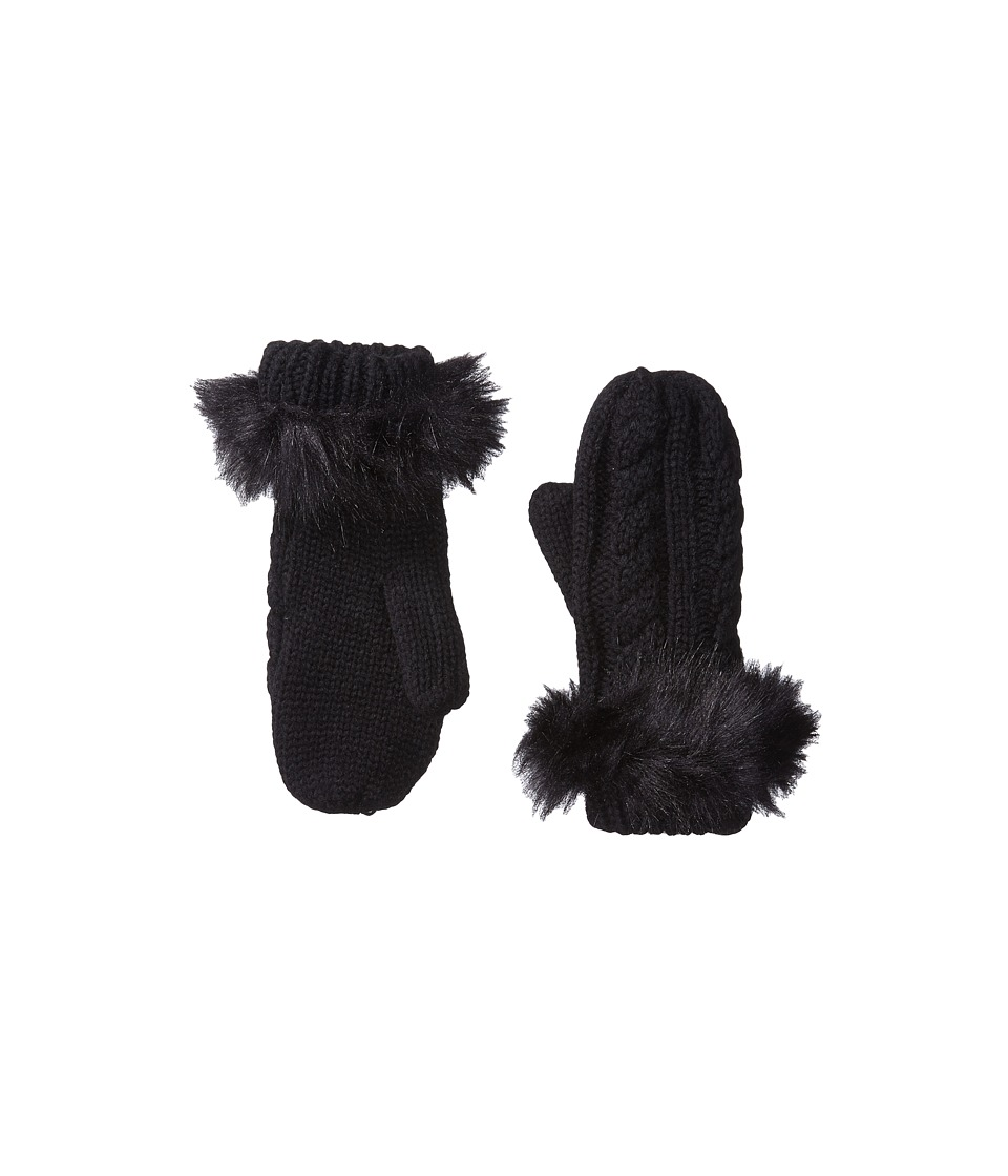Michael Stars Cable Knit Mitten (Black) Dress Gloves