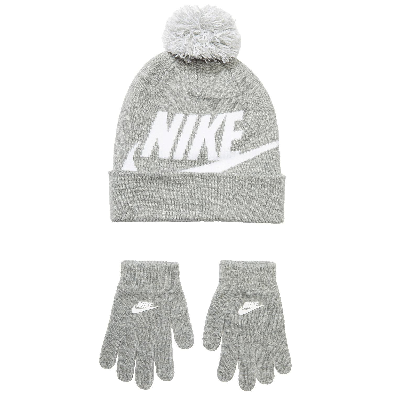 Nike Kids - Swoosh Pom Beanie Gloves Set (Little Kids/Big Kids) (Dark Grey Heather) Beanies