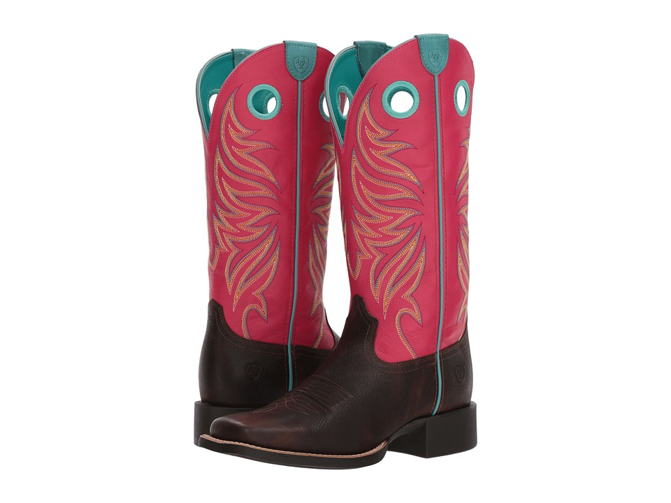 Ariat Round Up Ryder (Yukon Chocolate/Magenta) Cowboy Boots