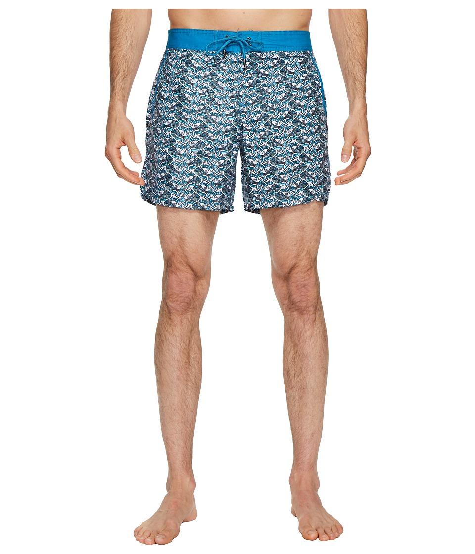 Mr. Swim Fish Swirls Chuck Swim Trunks (Teal) Men