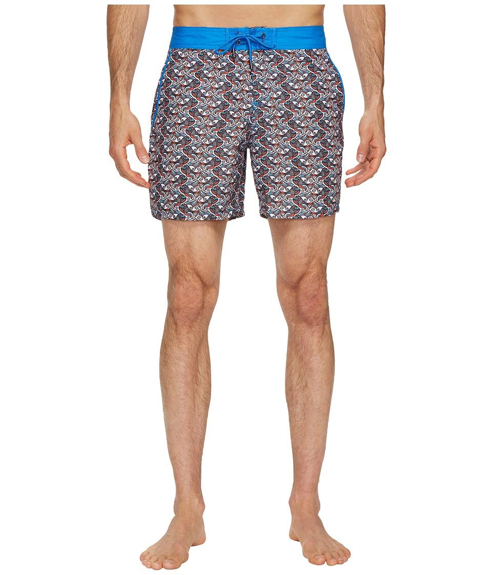 Mr. Swim Fish Swirls Chuck Swim Trunks (Orange) Men