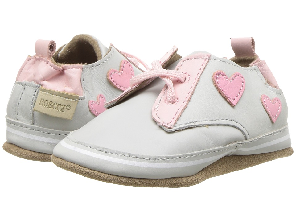 Robeez - Heartbreaker Soft Sole (Infant/Toddler) (Light Grey) Girls Shoes