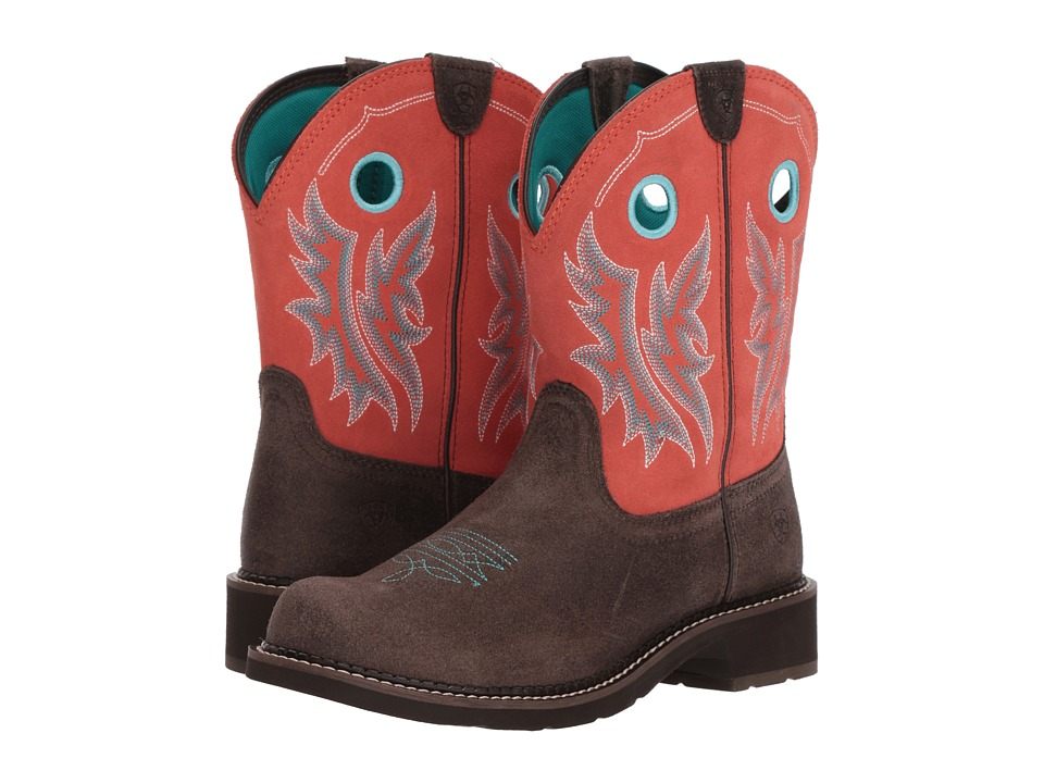 Ariat Fatbaby Heritage Cowgirl (Chocolate/Coral) Cowboy Boots